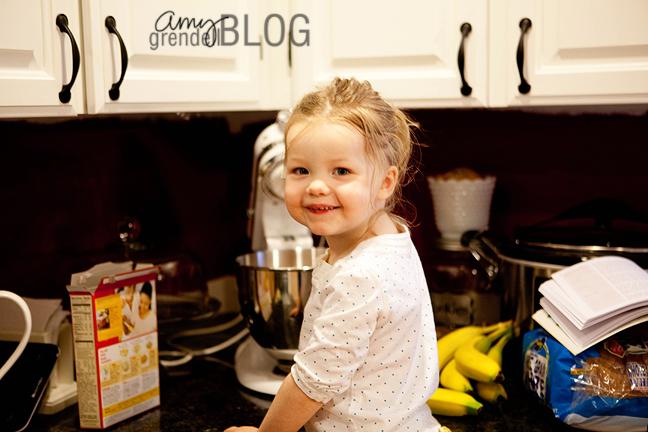 Hannah making cake